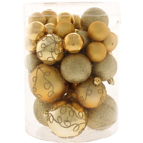 50 Piece Deluxe Christmas Tree Bauble Decoration Pack - Gold