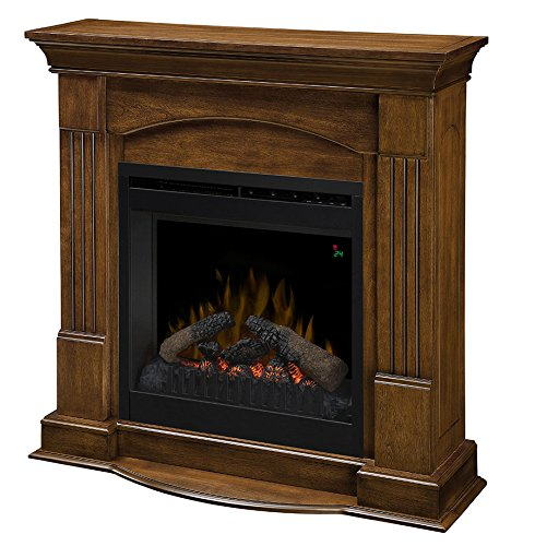 Dimplex Dfp20L-1332Bw Jade Fireplace Traditional Mantel With Faux Log Insert, Burnished Walnut