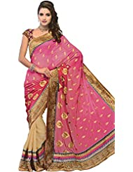 Exotic India Magenta-Haze Sari With Patch Border And Embroidered Bootis - Pink
