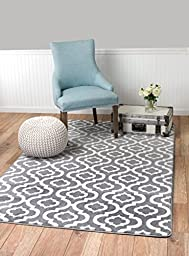 Summit #27 NEW Moroccan Gray Trellis RUG Modern Abstract Rug Many Aprx Sizes Available 2x3 2x7 4x6 5x8 8x10 (5\'x7\' Actual Is 4\'.10\'\' X 7\'.2\'\')