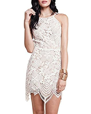DEARCASE Women's Summer Dresses Sleeveless Backless Guava Lace Mini Dress