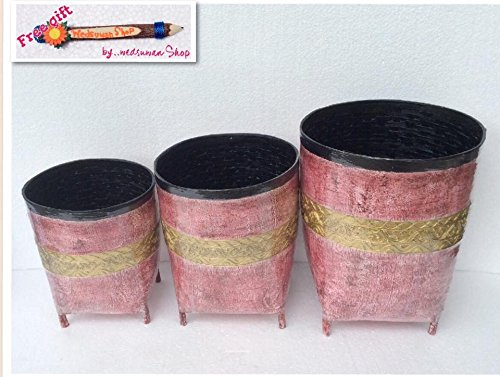 "3 Set Thai Weave Bamboo Painted Basket, Trashcan, Handmade (TBB026) Size small 8"" X 8"" X 9.5"", Medium 9"" X 9"" X 11.5"", Large 11"" X 11"" X 13"" .(Free a Gift Hb Herbal Breen Eri Silk Protein Handmade Body Soap, Tamarind + Honey Soap By Hb Brand)"