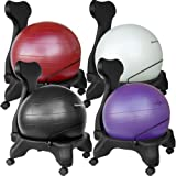 Isokinetics Inc. Brand Balance Exercise Ball Chair - with Choice of Ball Color - Exercise Ball Measuring Tape - Starter Pump