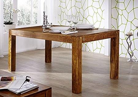 Table à manger 140x90cm - Bois massif d'acacia laqué (Miel) - DELHI #34