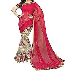 Pramukh saris Womens Georgette Printed Sari(Red)