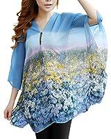 DJT Tee-shirt elegant Batwing T-shirt Blouse Manches 3/4 Tops Imprime en tulle Femme Style 4 Bleu XL