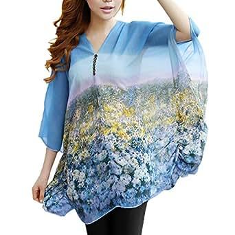 DJT Women Bohemian Floral Batwing Sleeve Slim Chiffon Casual Tops Blouse Tee Shirt T-Shirt Blue Size L
