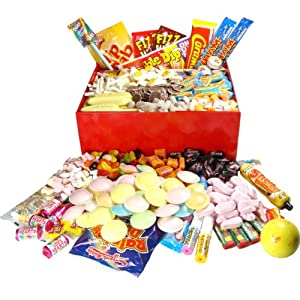 Large Retro Sweets Hamper Box - the perfect gift, packed with 2.2kg of retro sweets in a beautiful gloss red box.