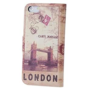 Retro Style Protective PU Leather Pouch Back Case for iPhone 5 - London Tower Bridge