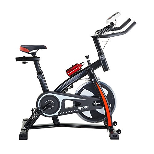 Pinty Pro Stationary Upright Exercise Bike Indoor Cycling Cardio Trainer with LCD Monitor & Water Bottle (Black) (Indoor Upright Stationary compare prices)