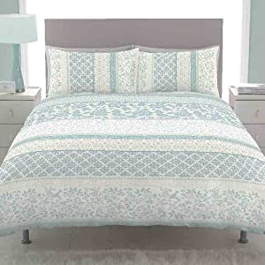 Catherine Lansfield Orinoco Double Bed Quiltset, Duck Egg