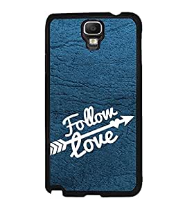 Fuson Premium 2D Back Case Cover Follow LOVE With Black Background Degined For Samsung Galaxy Note 3 Neo N7505