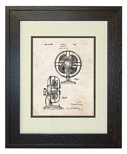 "Design For An Electric Fan Patent Art Old Look Print In A Rustic Oak Wood Frame (11"" X 14"")"