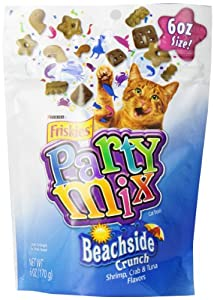 Friskies Party Mix Beachside Crunch Cat Treats With Shrimp, Crab and Tuna Flavors, 6ounce - Pouch (Pack of 7)