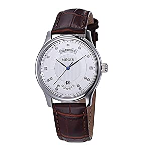 Baogela Men White Face Brown Leather Diamond Accented Business Casual Quartz Watch