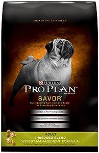 Purina Pro Plan Dry Dog Food, Savor, Shredded Blend Adult Weight Management Formula, 18-Pound Bag, Pack of 1