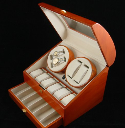 Kendal QUALITY WOOD QUAD WATCH WINDER (4) +12 STORAGE BOX