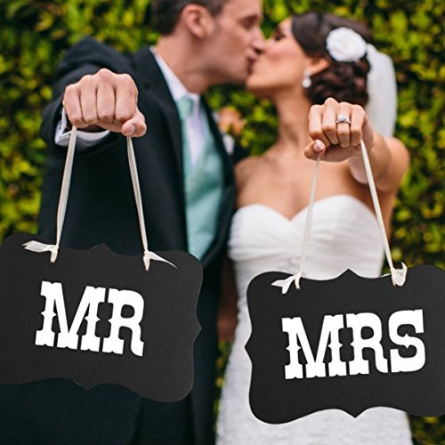 Pixnor MR MRS Chair Bunting Banner Garland Wedding Photo Props Decoration