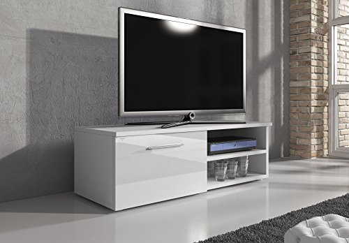 Mobile per TV, supporto TV Mobile Entertainment Vegas corpo bianco Tappetino/frontali bianco lucido, 120cm