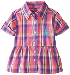 U.S. Polo Assn. Baby Girls\' Plaid Shirt with Roll Cuff, Pink Kite, 12 Months