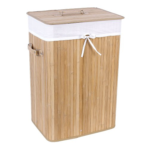 Songmics 3 Handles XL 72L Large Laundry Basket Laundry Box With Lining Folding Bamboo Storage Box 40 x 30 x 60cm LCB102