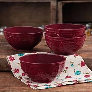 The Pioneer Woman Farmhouse Lace Bowl Set, 4-Pack CLARET | Antique Finish Durable Stoneware Lace Bowl Set, 4-Pack - CLARET