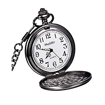 Mudder Classic Smooth Vintage Black Steel Mens Pocket Watch