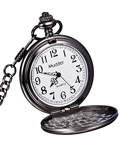 Mudder Classic Smooth Vintage Black Steel Mens Pocket Watch 0