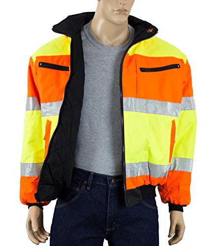 High Visibility Class 3 ANSI Reversible Reflective Safety Jacket with Pockets Two Tone Orange and Lime Rain Resistant (XL)
