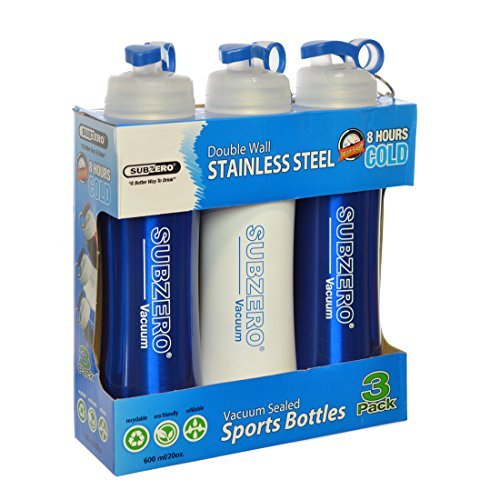 Subzero Sports Bottles Double Wall Stainless Steel Vacuum Sealed 20 Oz. Each, Pack of 3 (Colors may Vary) (Sub Zero Dishwasher compare prices)