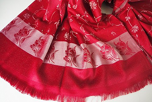 Luxury Thai Silk Scarft Dark Red 100%Shawl Floral Perfect for Women So Cute Much (Reed Broom compare prices)