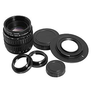 Lentille 35mm F1.7 TV pour Caméra M4/3 + Adaptateur C-M4/3 C + 2 bagues Macro LF12