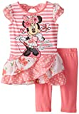 Disney Baby-Girls Infant 2 Piece Minnmouse Tunic with Matching Capri Legging, Coral, 18 Months