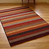 Woodstock 32743-1382 Terracotta, Brown & Beige Stripes Rug