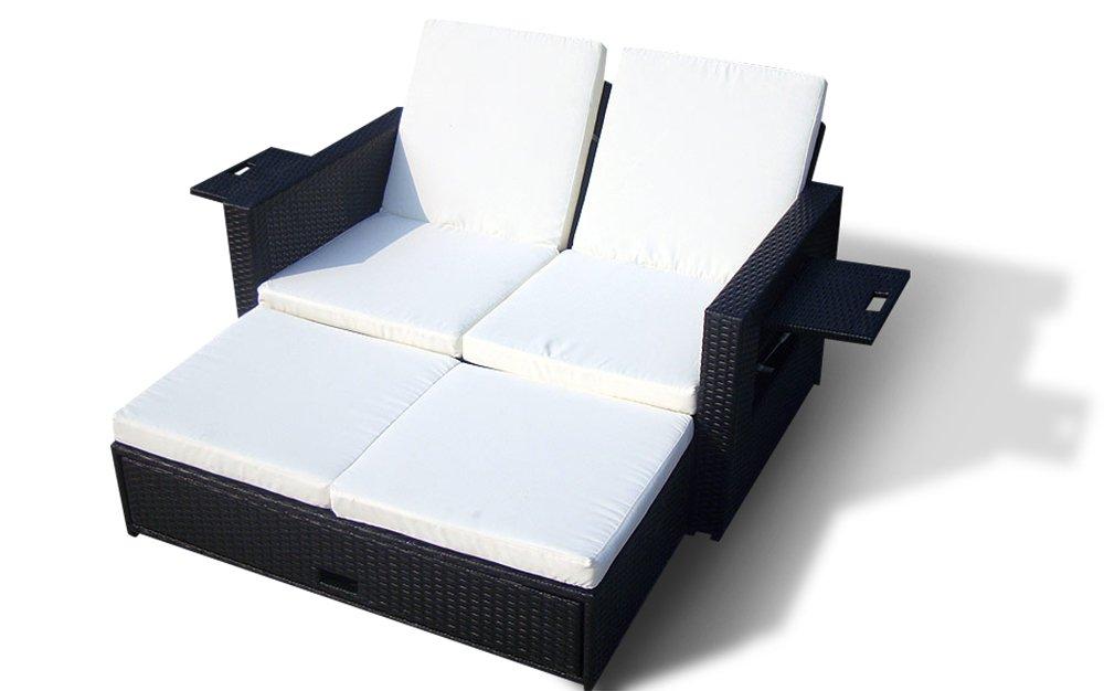 Rattanliege, Rattan Sonnenliege, Liege aus Polyrattan BRAGA | Hotel 1 Qualität (Schwarz) online kaufen