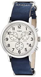 Timex Beige Dial Stainless Steel Leather Chrono Quartz Men's Watch TW2P62100