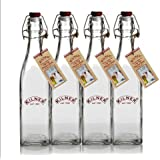 Kilner Traditional Vintage Style Square Airtight Clip Top Preserve Glass Bottles, 0.55 Litre - 4 Piece Set