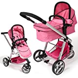 TecTake 3 in 1 Pushchair stroller combi stroller buggy baby jogger travel buggy kid's stroller pink