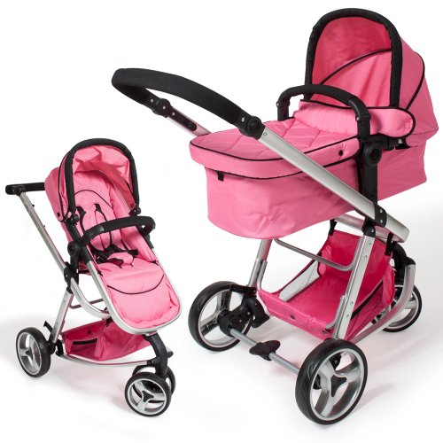 TecTake® 3 in 1 Kinderwagen Kombikinderwagen Buggy Babyjogger Reisebuggy Sportwagen Kids pink