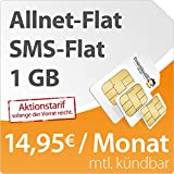 DeutschlandSIM Flat L 1000 [SIM, Micro-SIM und Nano-SIM] monatlich kündbar (1 GB Daten-Flat mit max. 14,4 MBit/s, Telefonie-Flat, SMS-Flat, 14,95 Euro/Monat) O2-Netz