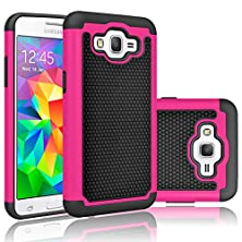 buy Grand Prime Case, Tekcoo(Tm) [Tmajor Series] [Rose/Black] Shock Absorbing Hybrid Rubber Plastic Impact Defender Rugged Slim Hard Protective Case Cover Shell For Samsung Galaxy Grand Prime Lte