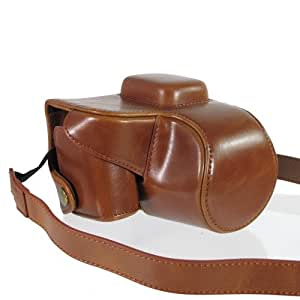 [3 colors available] Brown Premium PU Leather Camera Case Cover Bag for Nikon 1 V2 with Shoulder Strap (4487-2)