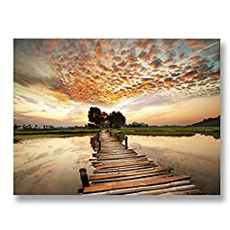 Neron Art - Hand painted Nature Oil Painting on Gallery Wrapped Canvas - Golden Sundown 20X16 inch (51X41 cm)