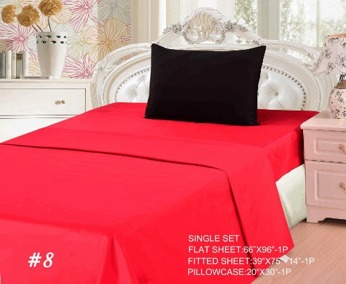 Tache 3 Piece 100% Cotton Vibrant Red And Black Bed Sheet Set-Single front-936866