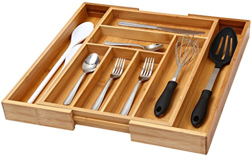 """YBM Home & Kitchen Expandable 6-compartment Kitchen Utensil, Flatware, Cutlery Drawer Organizer Tray Size 18"""" width (12.5"""" wide closed), 17."""""""