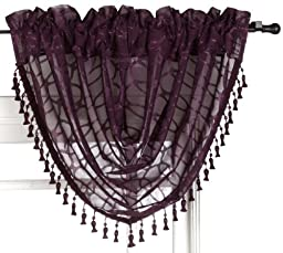 Symmetry 52-Inch by 38-Inch Waterfall Valance, Purple