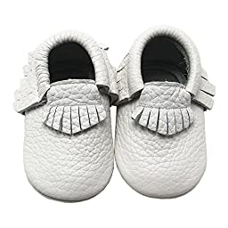 Mejale Baby Boy Shoes Soft Soled Leather Moccasins Slip-on Infant Toddler Pre-walker(white,0-3 months)