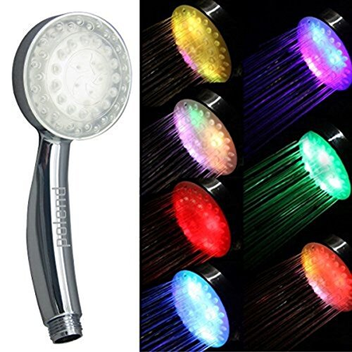 POLEND Rainbow LED Showers,Handheld 7 Color Changing LED Lights Shower Head Bathroom Showerheads(two years warranty)