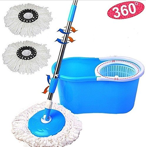 360° Easy Clean Floor Mop Bucket 2 Heads Microfiber Spin Rotating Head Blue (Mop Broom Combo compare prices)