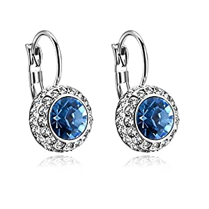 Forcolor White Gold Plated Drop Earrings with Blue Round SWAROVSKI WLEMENTS Crystal